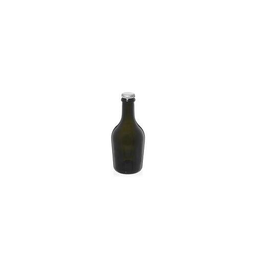 "330ml antikgrüne Bierflasche ""Butterfly"" Kronkork silber"