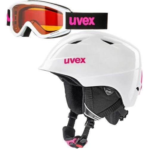 Uvex airwing 2 set Skihelm Kinder white pink 48-52
