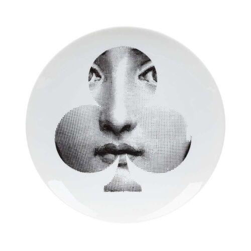 Fornasetti Teller mit Gesicht-Print - Weiß