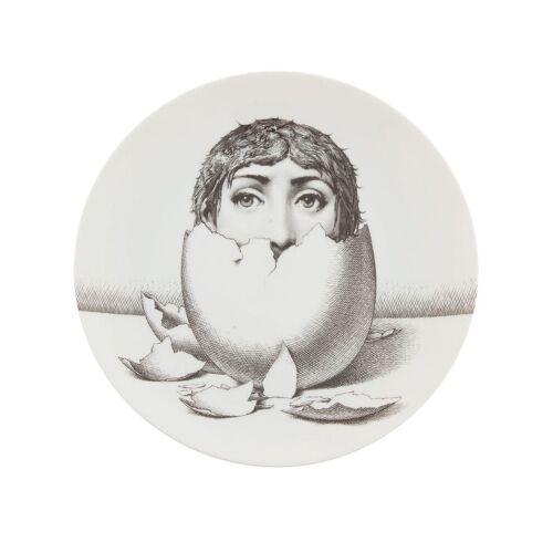 Fornasetti Teller mit Ei-Print - Weiß Male regular