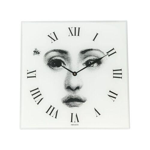 Fornasetti Eckige Wanduhr mit Gesicht - Weiß Male regular