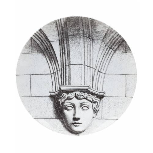Fornasetti Teller mit Säulenmotiv - Weiß
