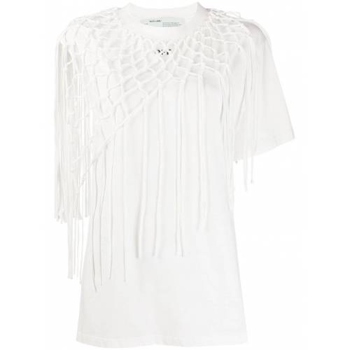 Off-White T-Shirt mit Häkelmuster - Weiß Female regular