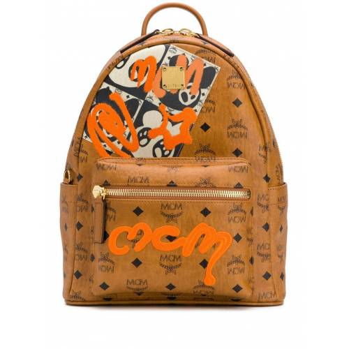 MCM Rucksack mit Graffiti-Logo - Braun Female regular