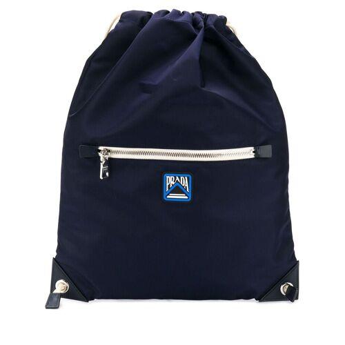 Prada Rucksack mit Logo-Patch - Blau Female regular