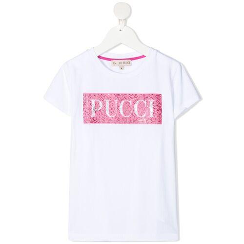 Emilio Pucci Junior T-Shirt mit Kristallen - Weiß Female regular