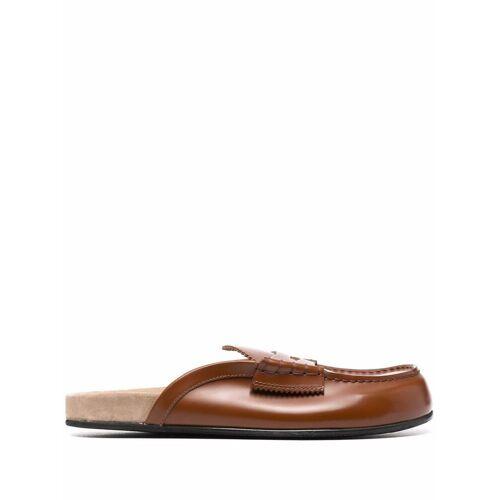 college round-toe leather slippers - Braun Male regular
