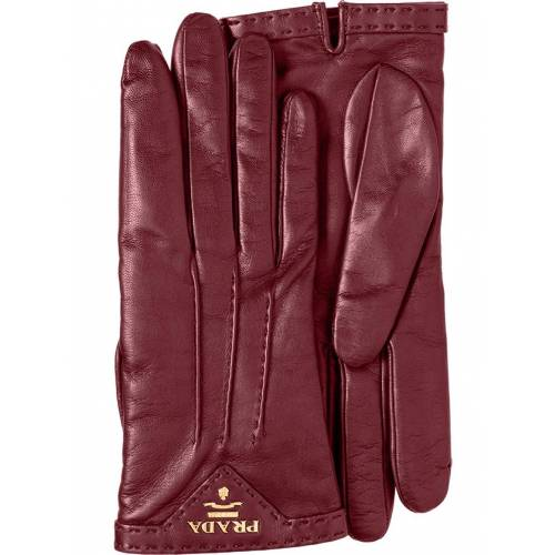Prada Handschuhe mit Logo-Schild - Rot Male regular