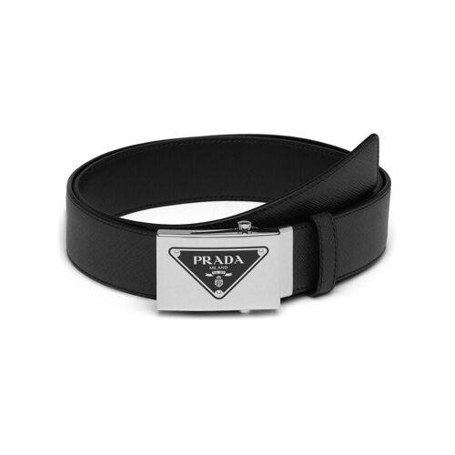 Prada Gürtel mit dreieckigem Logo - Schwarz Female regular