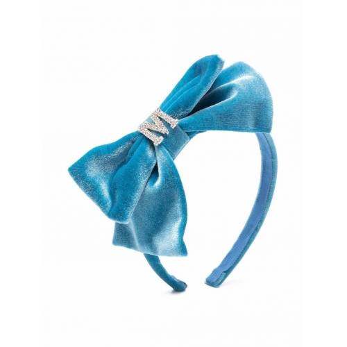 Monnalisa Haarreif aus Samt mit Kristall-Logo - Blau Female regular