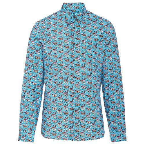 Prada Hemd mit Mikro-Rosenmuster - Blau Male regular