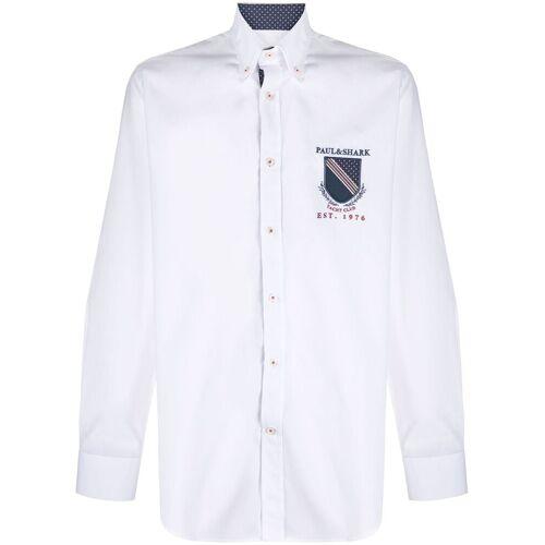 Paul & Shark Button-down-Hemd mit Wappen - Weiß Male regular
