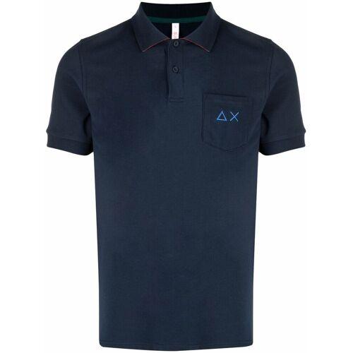 Sun 68 Besticktes Poloshirt - Blau Male regular