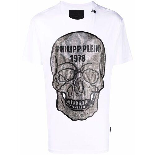 Philipp Plein T-Shirt mit Kristall-Totenkopf - Weiß Male regular