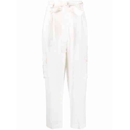 TWINSET Tapered-Hose mit Bindegürtel - Weiß Male regular