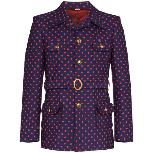 Gucci Gepunktetes Sakko mit Gürtel - Blau Male regular
