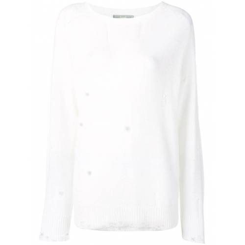 Maison Flaneur Distressed-Pullover - Weiß Female regular
