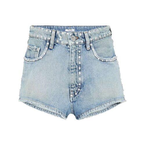 Miu Miu Verzierte Jeansshorts - Blau Female regular