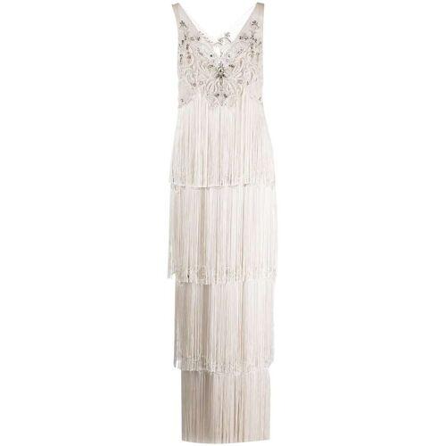 Marchesa Notte Kleid mit Kristallfransen - Weiß Female regular