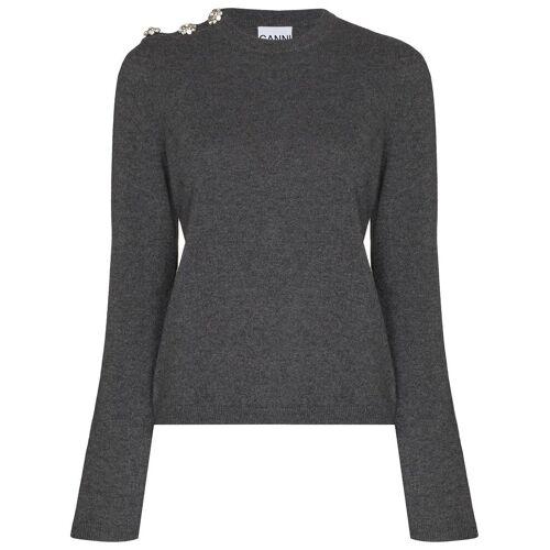 GANNI Pullover mit Kristallknöpfen - Grau Female regular
