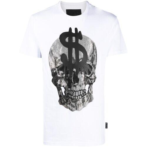 Philipp Plein T-Shirt mit Kristall-Totenkopf - Weiß Female regular