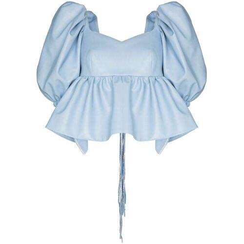 ANOUKI Rückenfreie Bluse mit Puffärmeln - Blau Female regular