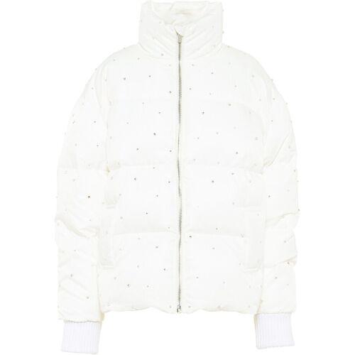 Miu Miu Gefütterte Jacke mit Kristallen - Weiß Female regular