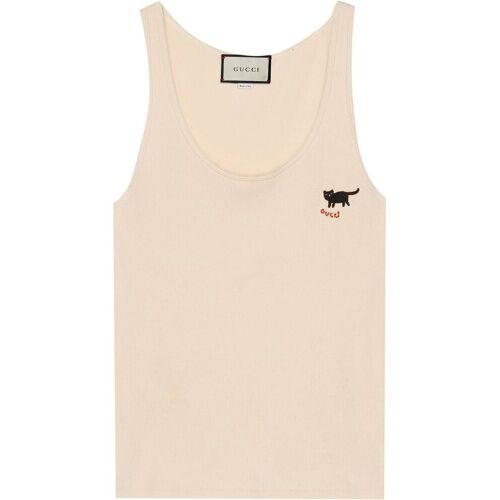 Gucci Top mit Katzen-Stickerei - Weiß Female regular