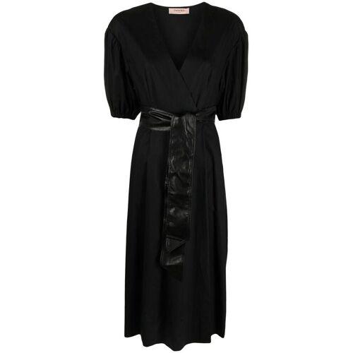 TWINSET Popeline-Kleid mit Gürtel - Schwarz Male regular