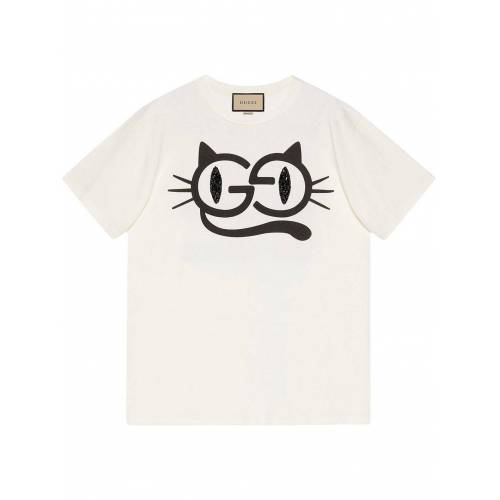 Gucci T-Shirt mit Katzenaugen-Print - Weiß Female regular