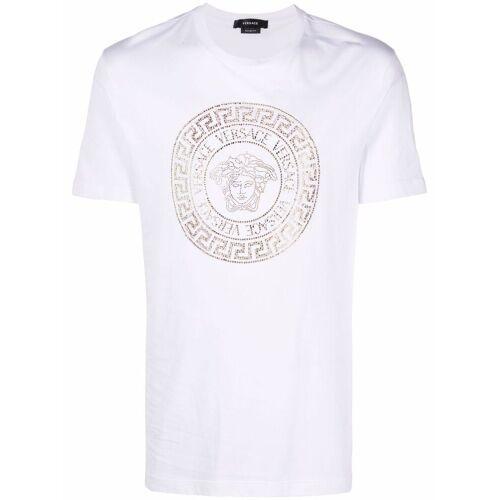 Versace T-Shirt mit Medusa-Kristallapplikation - Weiß Female regular