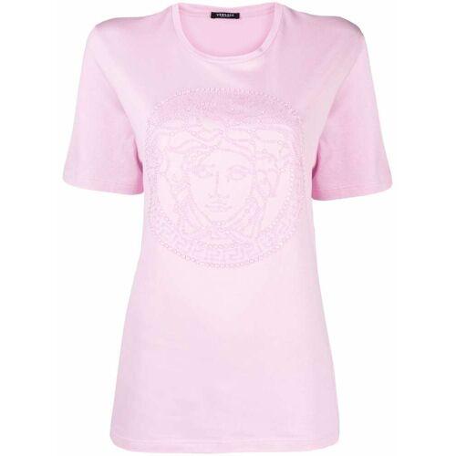 Versace T-Shirt mit Medusa-Kristallapplikation - Rosa Female regular