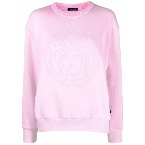 Versace Sweatshirt mit Medusa-Kristallapplikation - Rosa Female regular