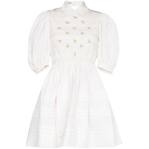Miu Miu Kleid mit Rosenstickerei - Weiß Male regular