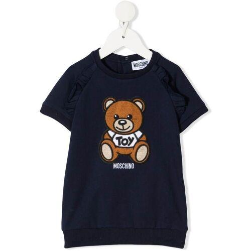 Moschino Kids Kleid mit gehäkeltem Teddy - Blau Unisex regular