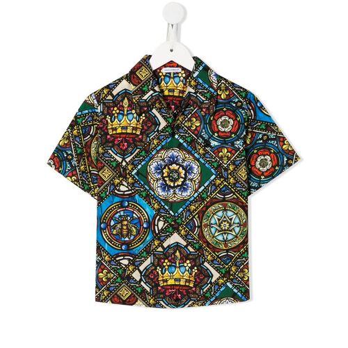 Dolce & Gabbana Kids Hemd mit Glasfenster-Print - Schwarz Male regular