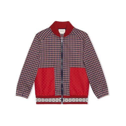 Gucci Kids Bomberjacke mit Hahnentrittmuster - Rot Male regular