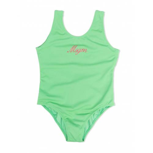 MSGM Kids Rückenfreier Badeanzug mit Logo - Grün Male regular
