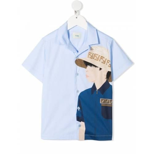 Fendi Kids Hemd mit Fendi Guy-Print - Blau Unisex regular