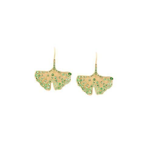 Aurelie Bidermann 18kt Gelbgoldohrringe mit Ginkgoblättern und Tsavoriten Male regular