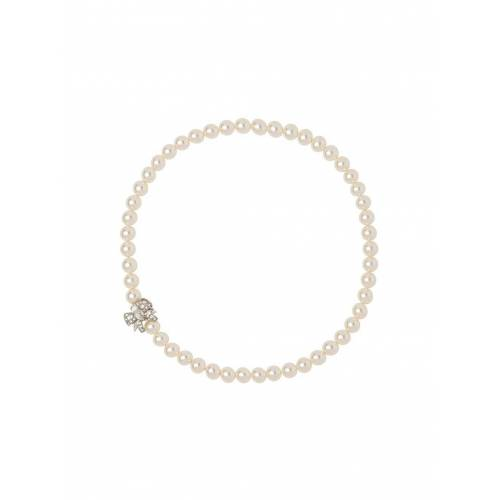 Miu Miu Perlenkette mit Kristallschleife - F0QCD CREAM/CRISTAL Female regular