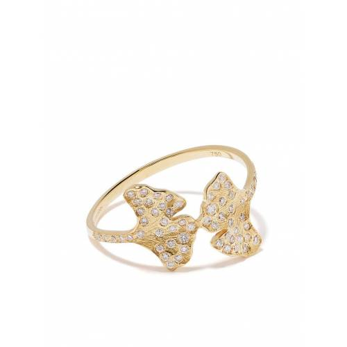 Aurelie Bidermann 18kt 'Ginkgo' Gelbgoldring mit Diamanten Male regular