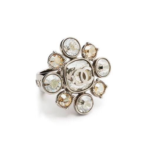 Chanel Pre-Owned Floraler Kristallring mit CC - Silber Male regular
