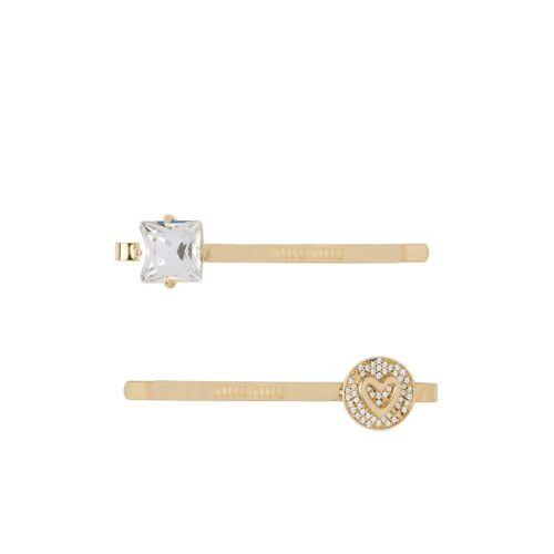 Miu Miu Haarklammer mit Kristall-Logo - Gold Male regular