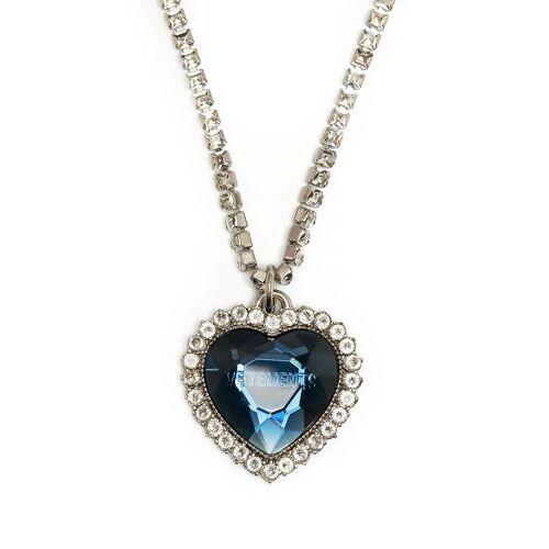 VETEMENTS Halskette mit Kristallherz - Blau Female regular
