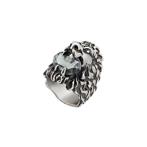 Gucci Löwenkopf-Ring mit Kristallen - Silber Male regular