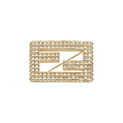 Fendi Logo-Brosche mit Kristallen - Gold Male regular