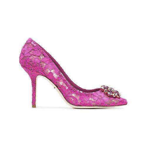 Dolce & Gabbana 'Belucci 90' Spitzenpumps mit Kristallblume - Rosa Male regular