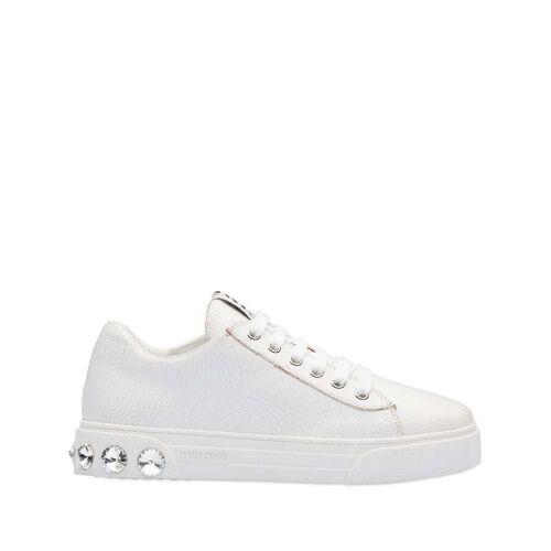 Miu Miu Sneakers mit Kristallnieten - Weiß Male regular
