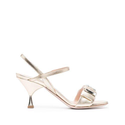 Miu Miu Metallic-Sandalen mit Kristallen - Gold Male regular